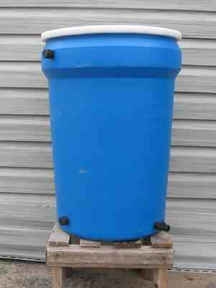 Upgraded Overflow 30 Gal Blue Rain Barrel